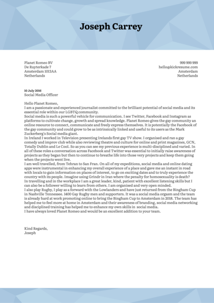 Social Media Officer Cover Letter Sample