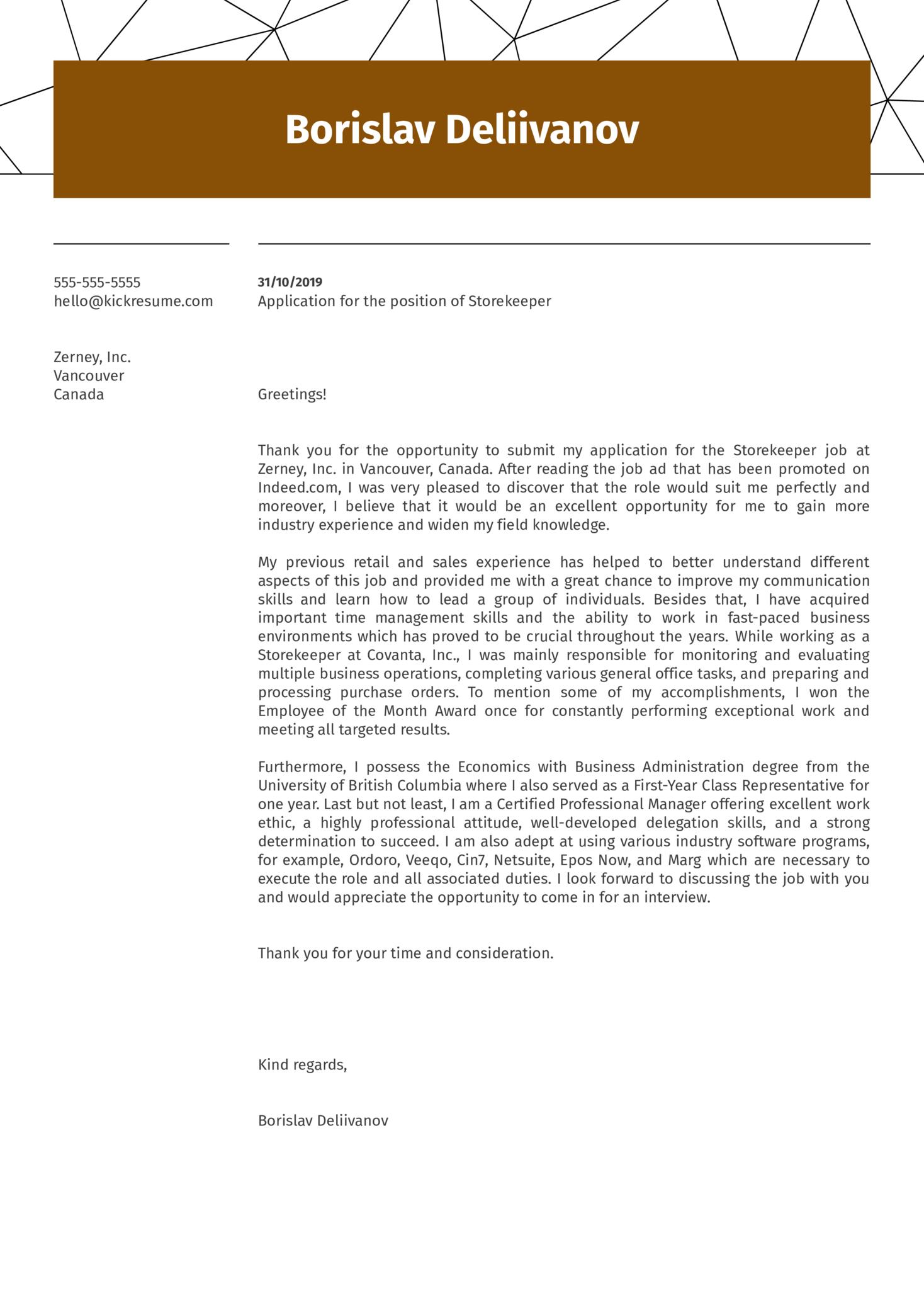 Storekeeper Cover Letter Example Kickresume
