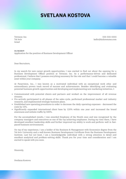 Business Development Officer Cover Letter Example