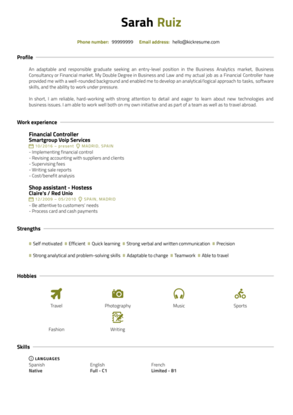 Business administration intern resume template