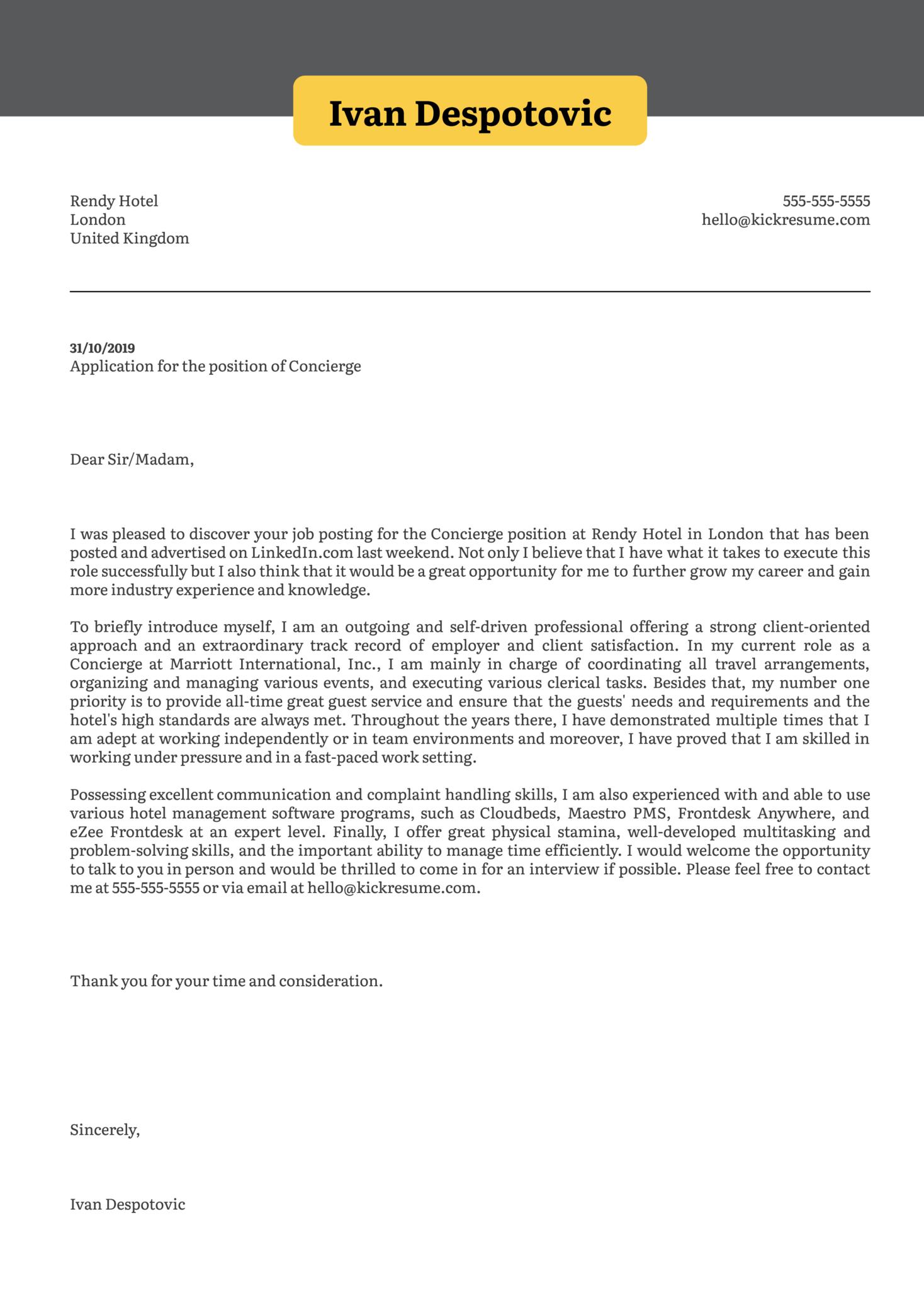 cover letter sample for hotel job
