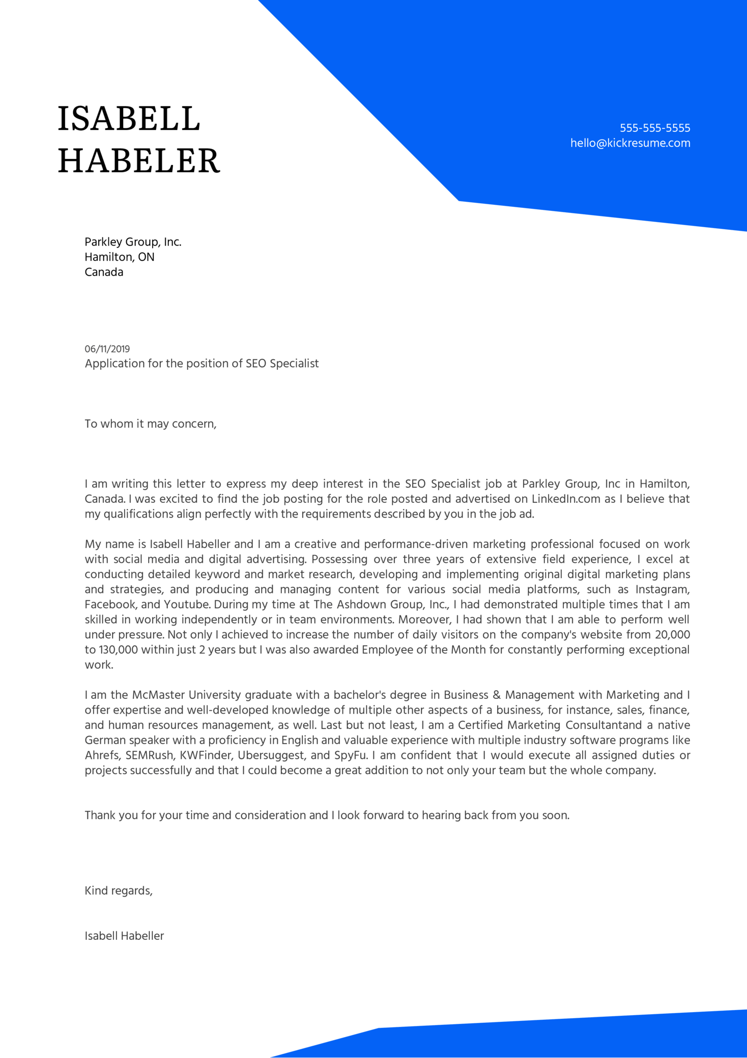SEO Specialist Cover Letter Sample