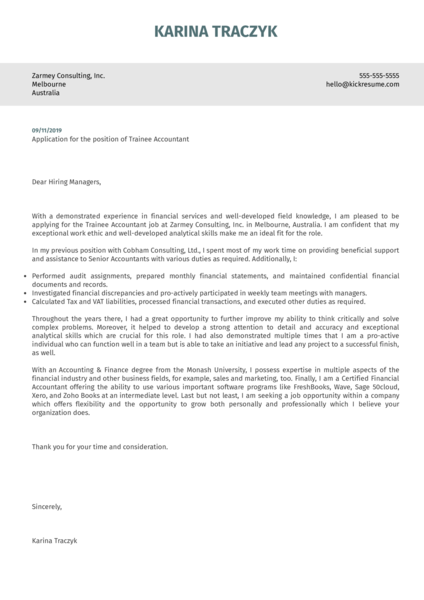 Accounting / Finance Cover Letter Samples from Real ...