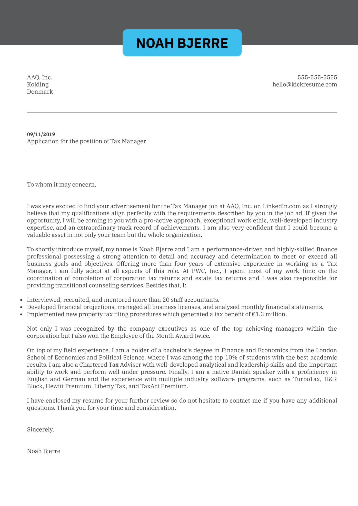 cover letter examples by real people  tax manager cover