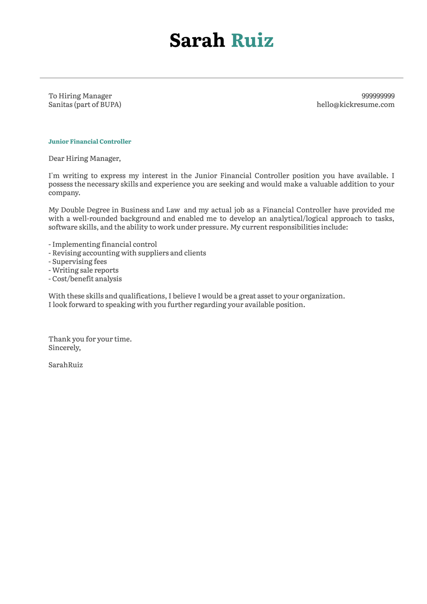 Cover Letter Examples by Real People: Junior financial controller ...