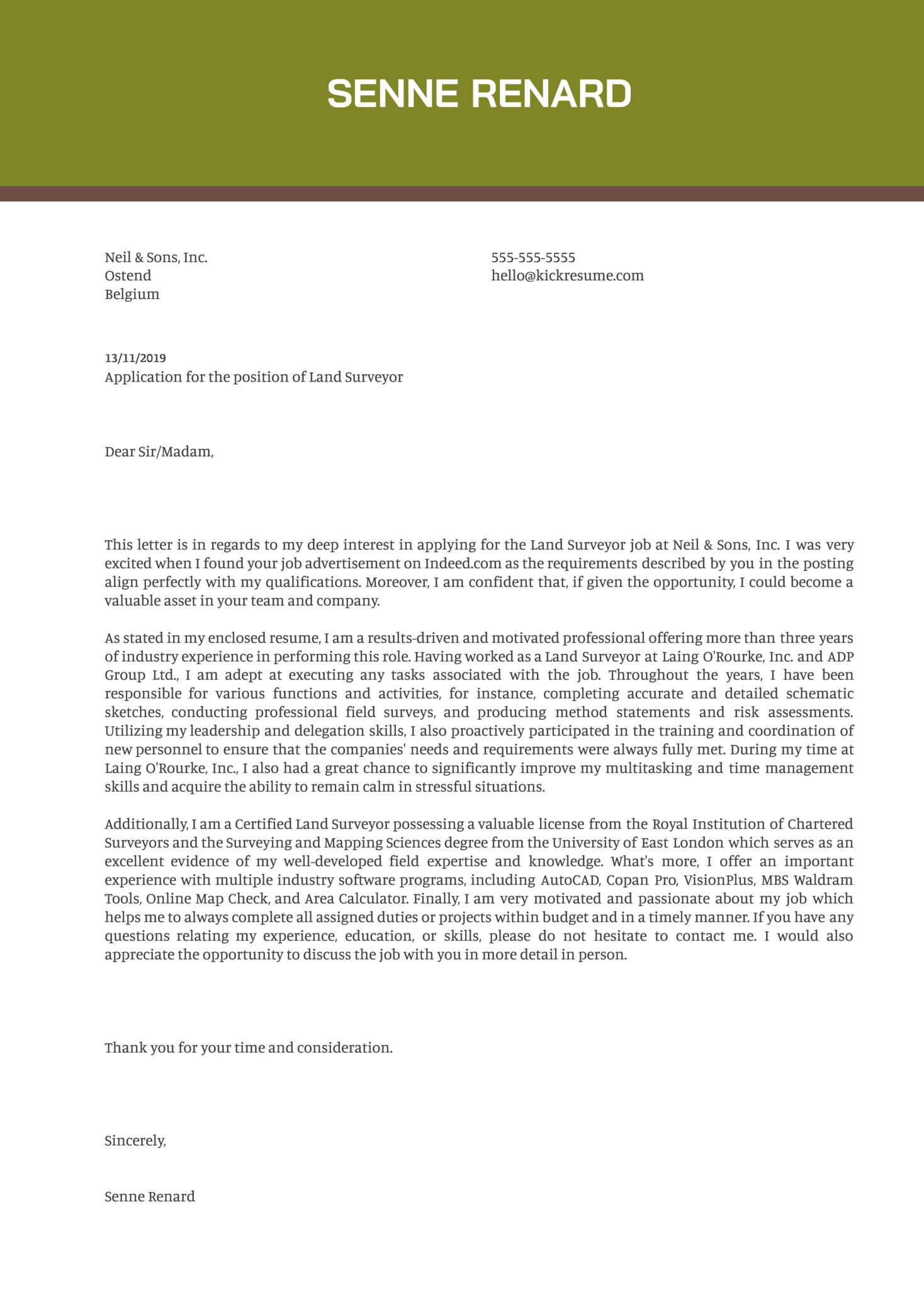 Land Surveyor Cover Letter Example