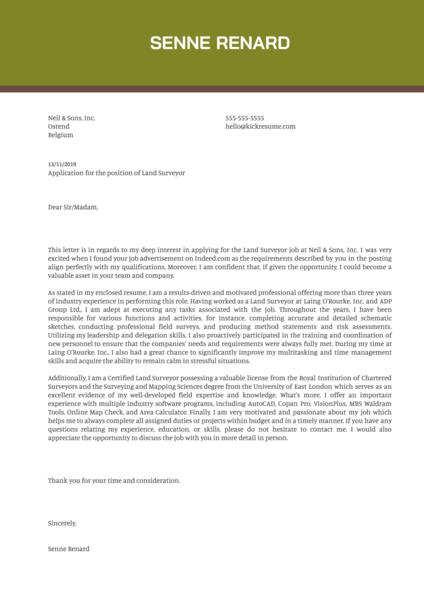 Land Surveyor Cover Letter Example
