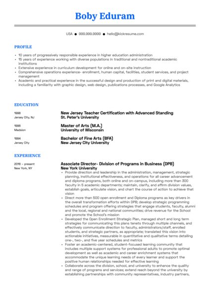 New York University Associate Director Resume Sample