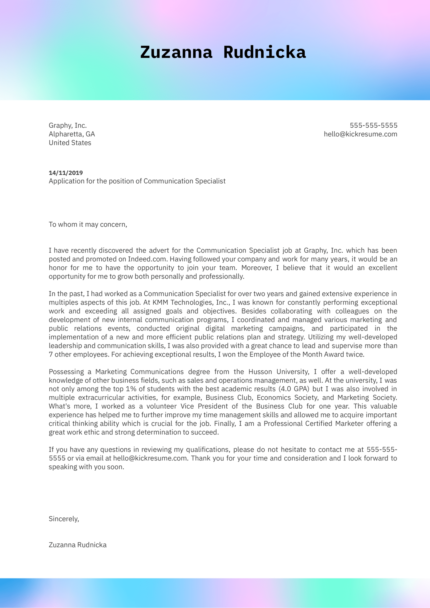 Communication Specialist Cover Letter Sample