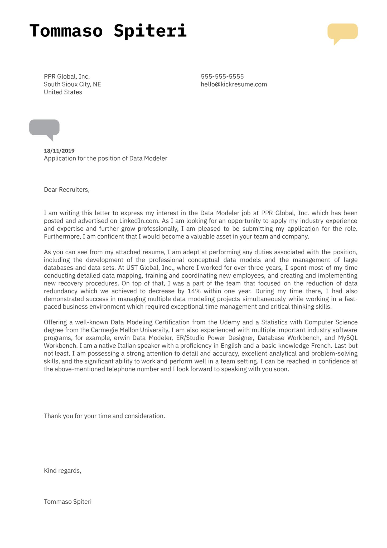 Data Modeler Cover Letter Example