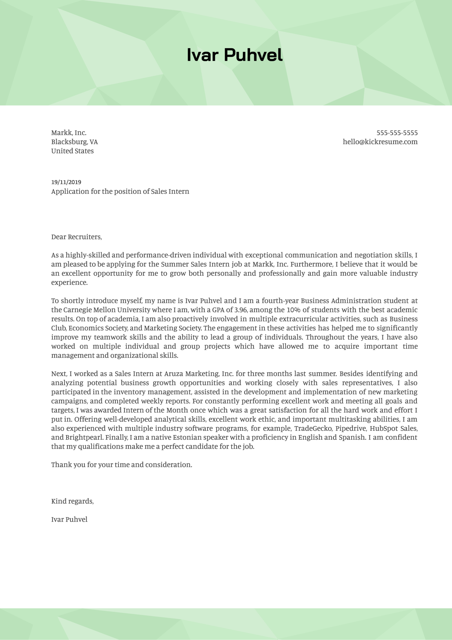 Sales Intern Cover Letter Example