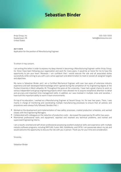 Cover Letter Examples by Real People: Junior Mechanical ...