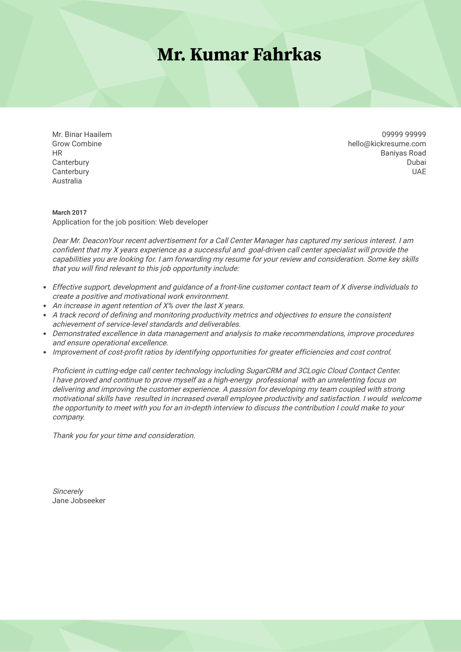 cover letter examples by real people  souq web developer cover letter sample