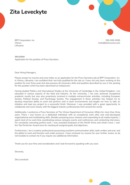Press Secretary Cover Letter Example