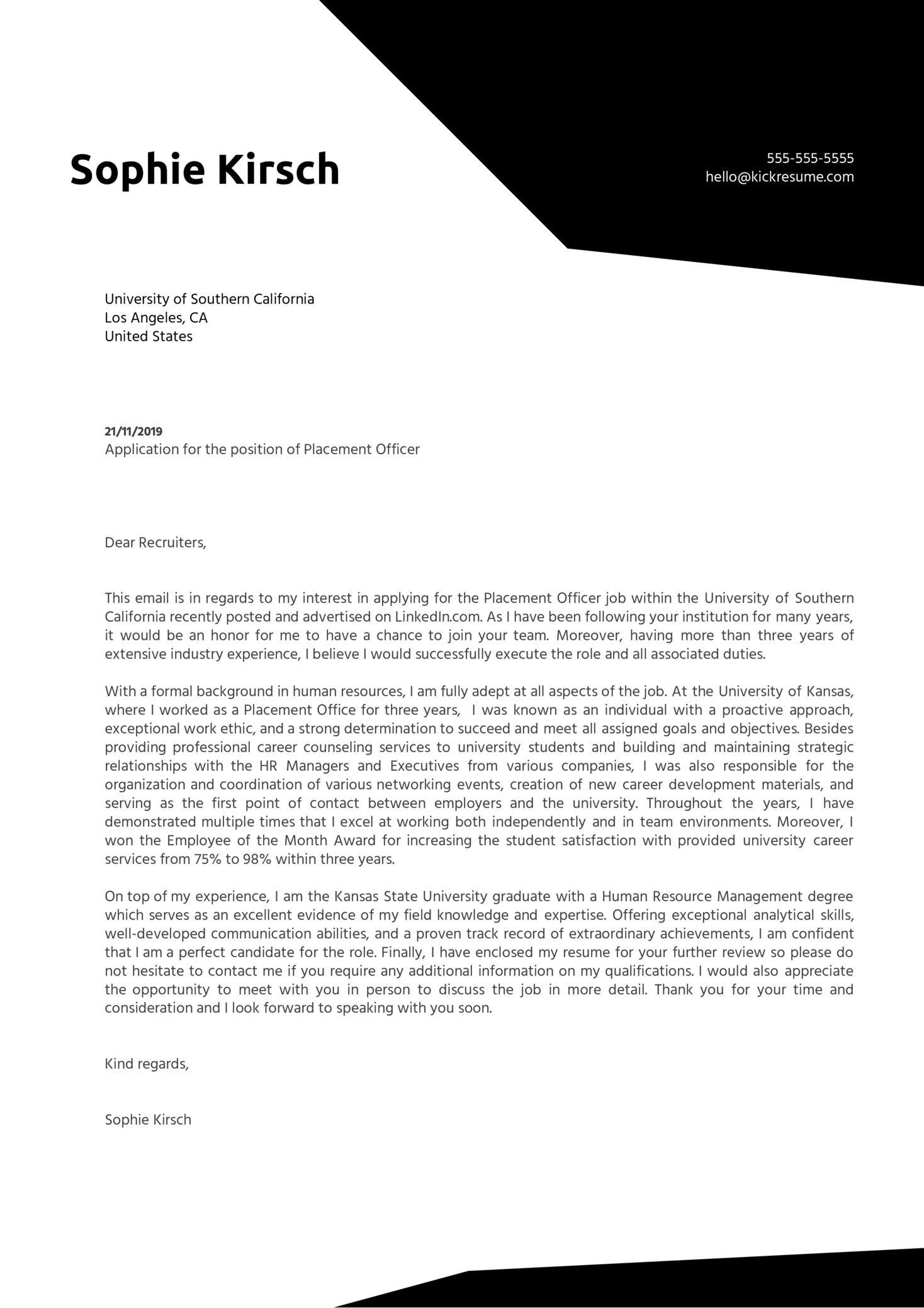 Placement Officer Cover Letter Example