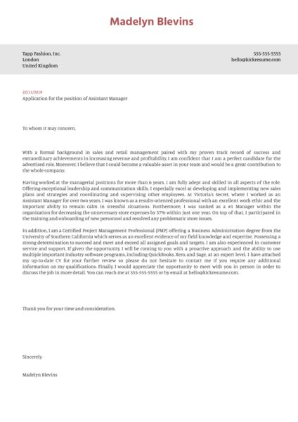 Assistant Manager Cover Letter Template