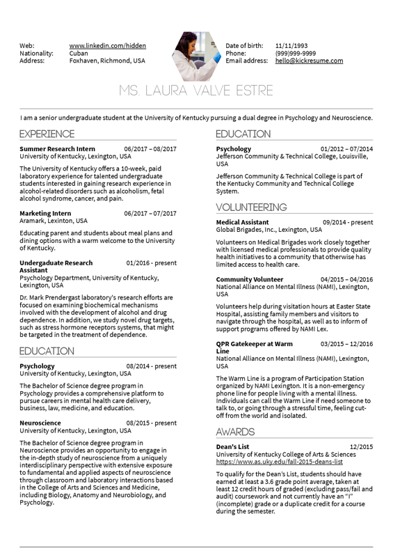 Summer research intern resume template