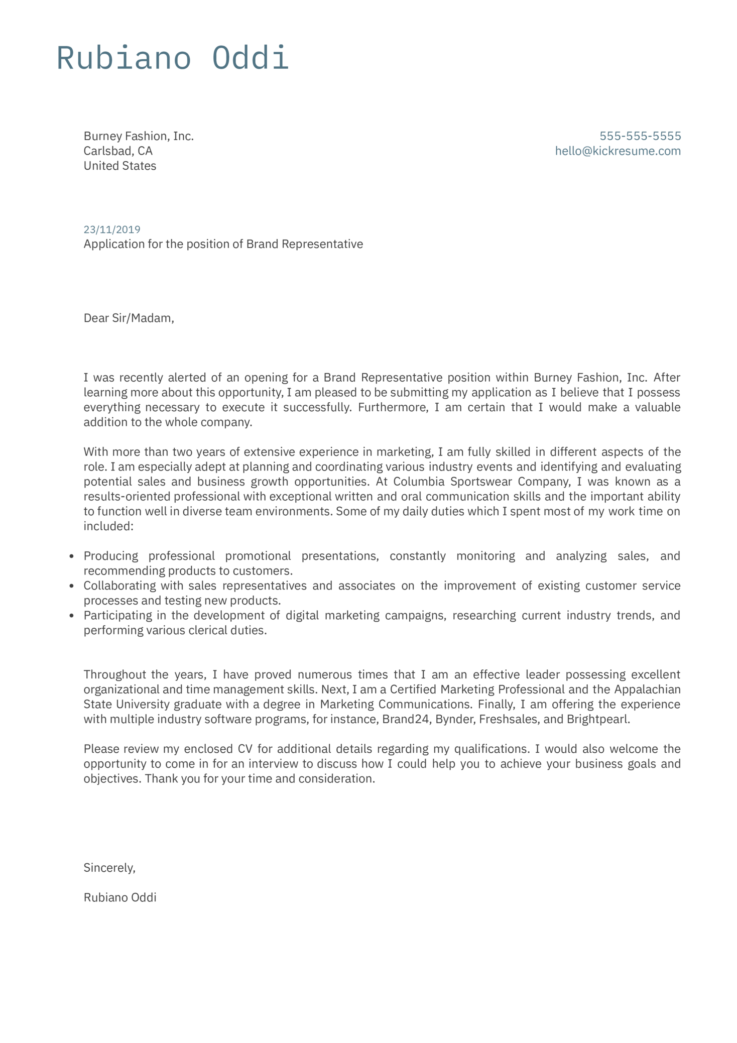 cover letter examples by real people  brand representative cover letter example