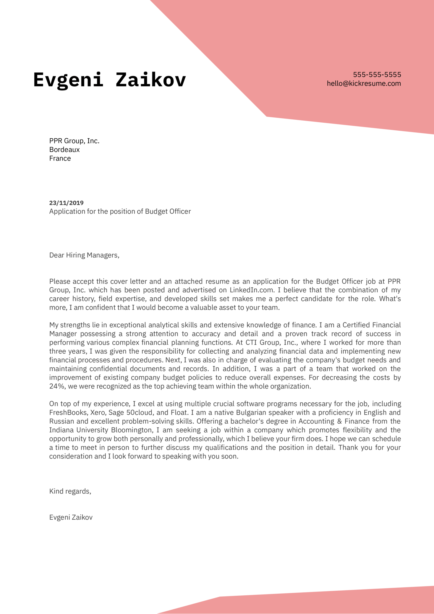 budget officer cover letter example