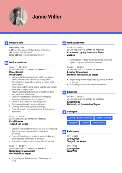 Receptionist resume template at MGM Grand