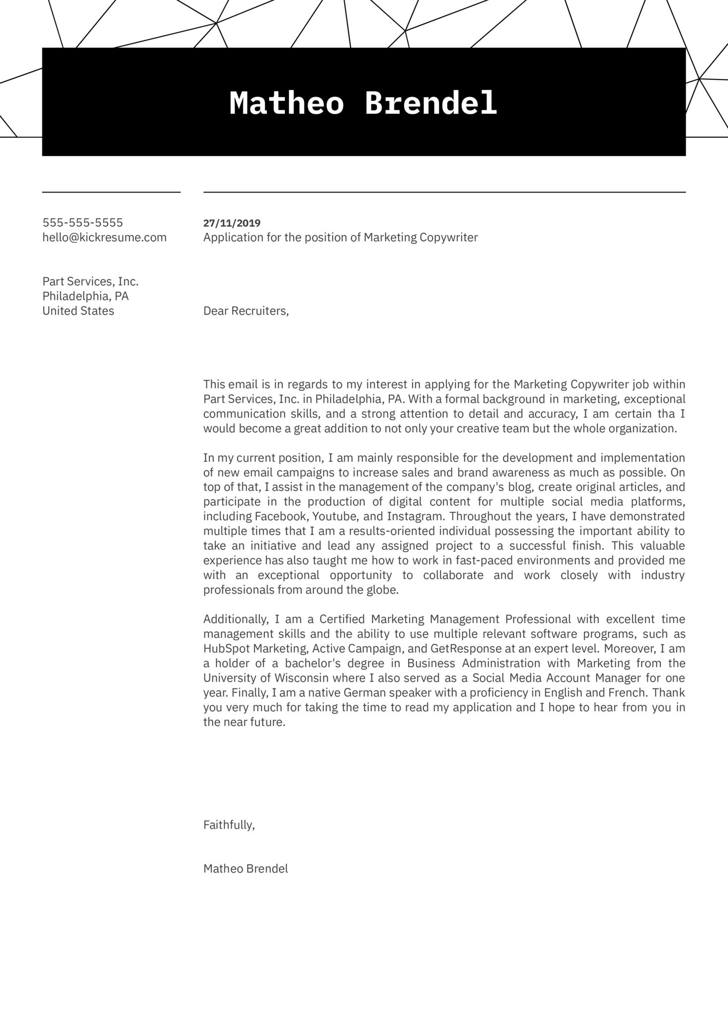 Marketing Copywriter Cover Letter Example