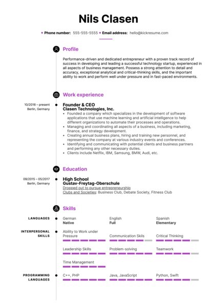 Didn't Graduate High School Resume Example