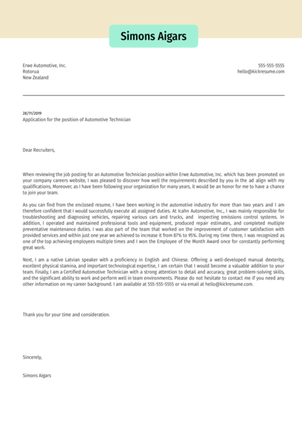 Automotive Engineer Cover Letter Example Kickresume