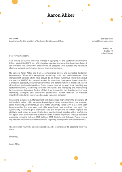 Customer Relationship Officer Cover Letter Example