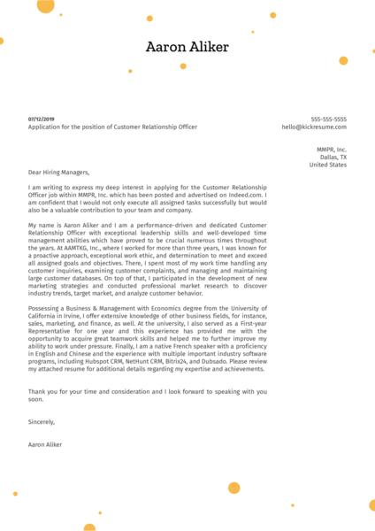 Customer Relationship Officer Cover Letter Example