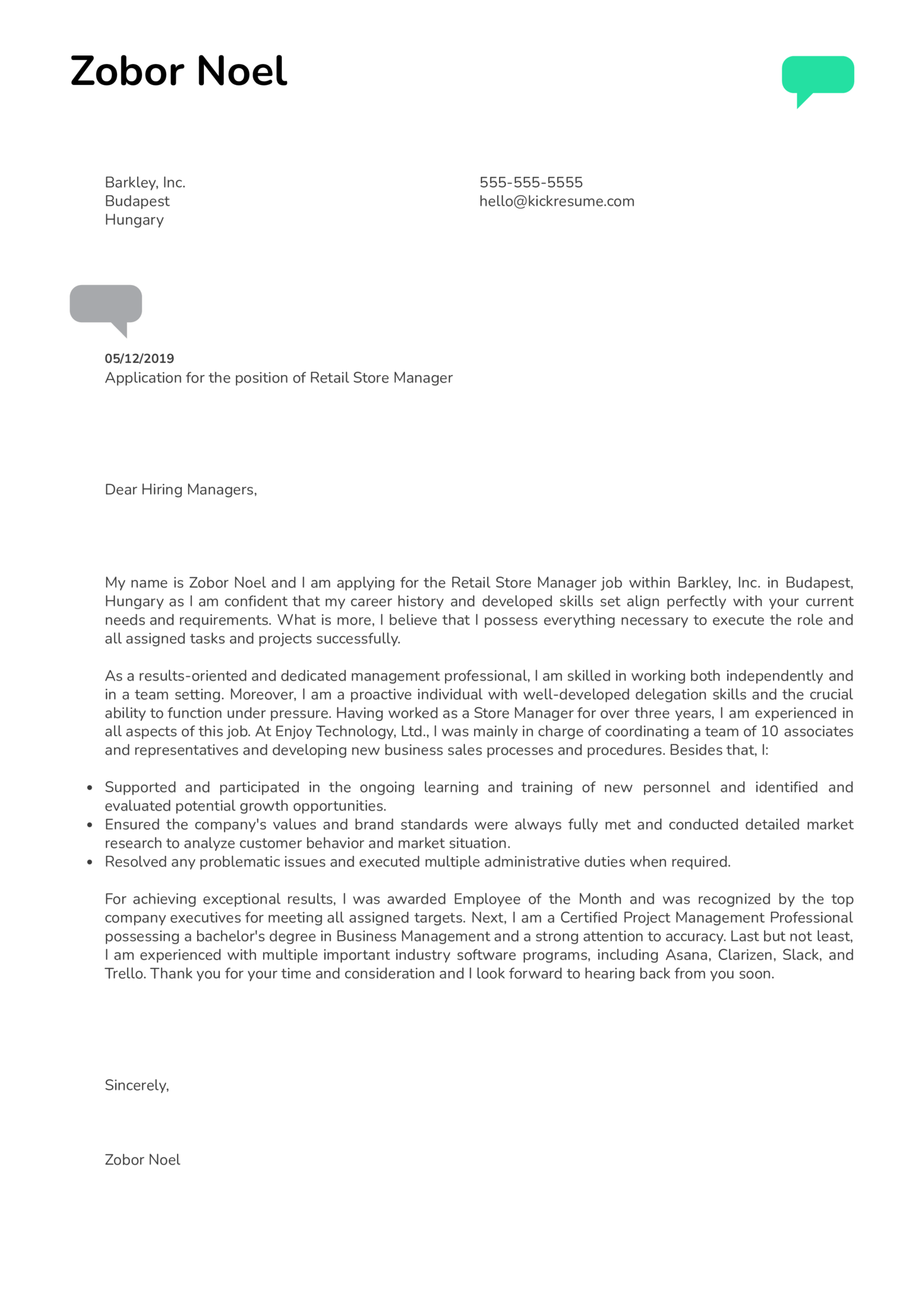 Retail Store Manager Cover Letter Sample