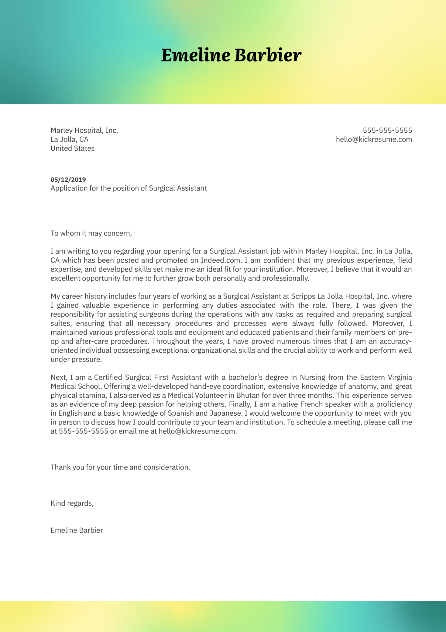 Surgical Assistant Cover Letter Sample
