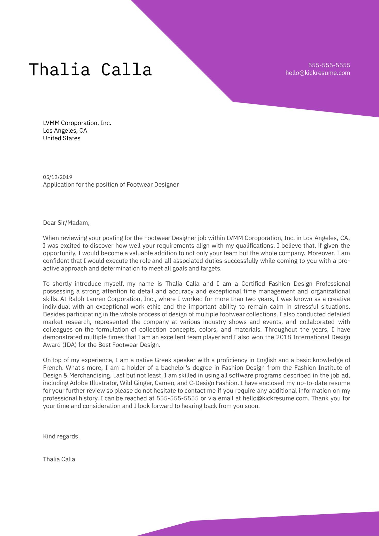 Footwear Designer Cover Letter Sample
