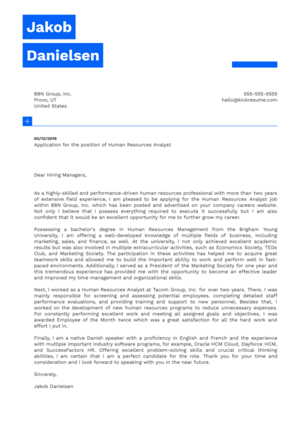 Human Resources Analyst Cover Letter Example
