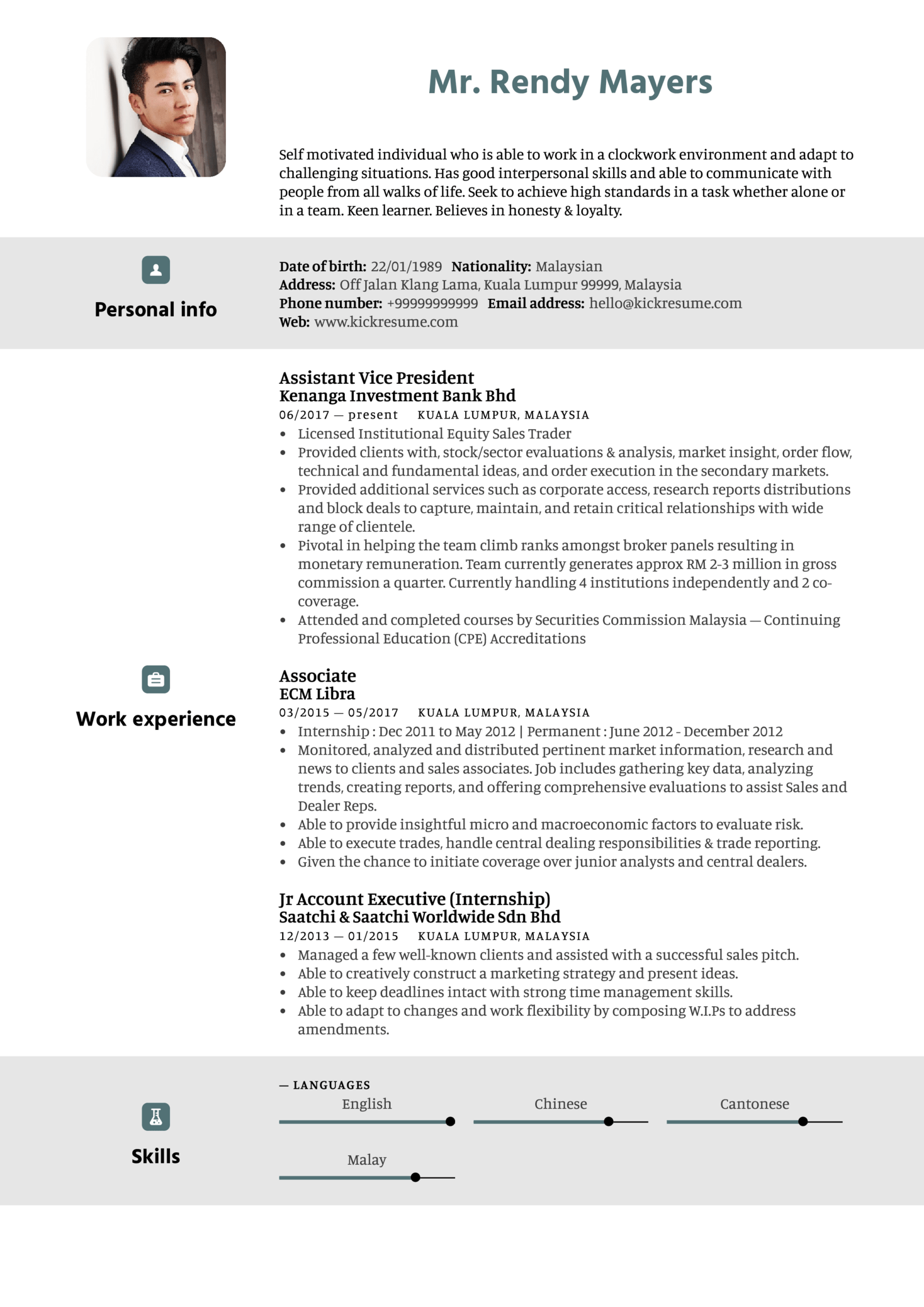 Kenanga Assistant Vice President Resume Sample (parte 1)