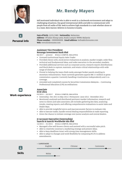 Kenanga Assistant Vice President Resume Sample