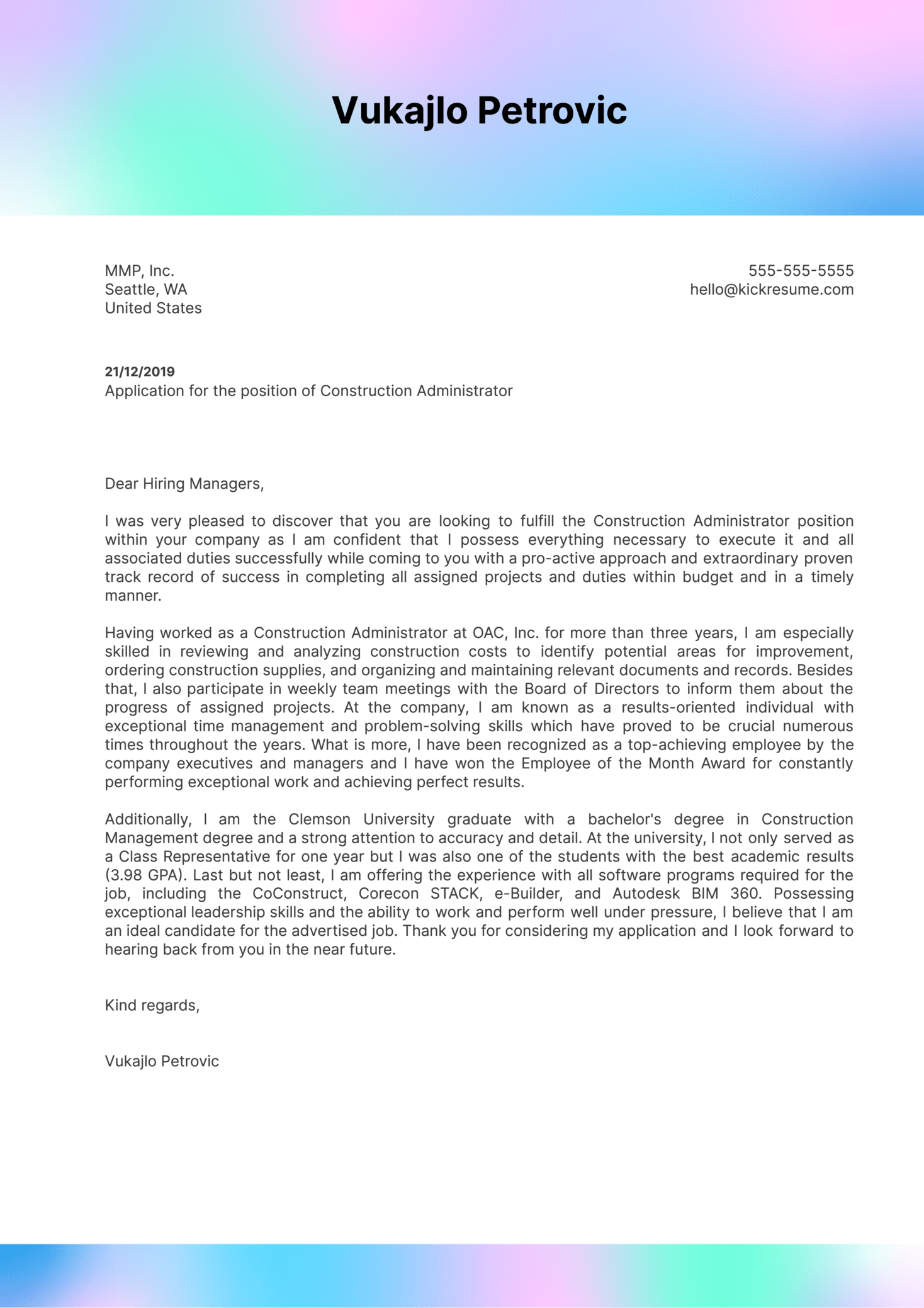 Construction Administrator Cover Letter Sample