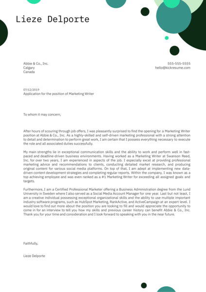Marketing Writer Cover Letter Sample