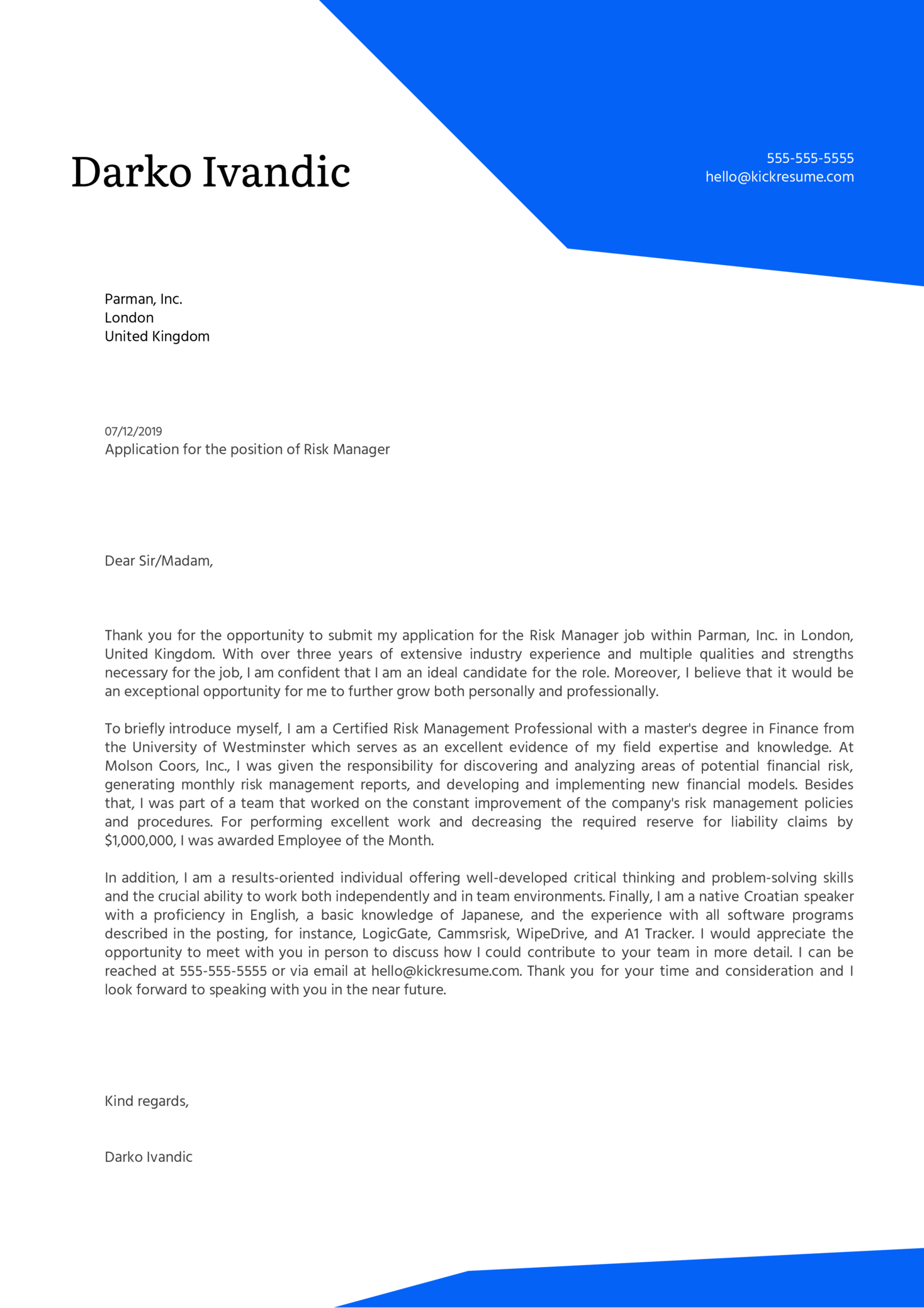 Risk Manager Cover Letter Example