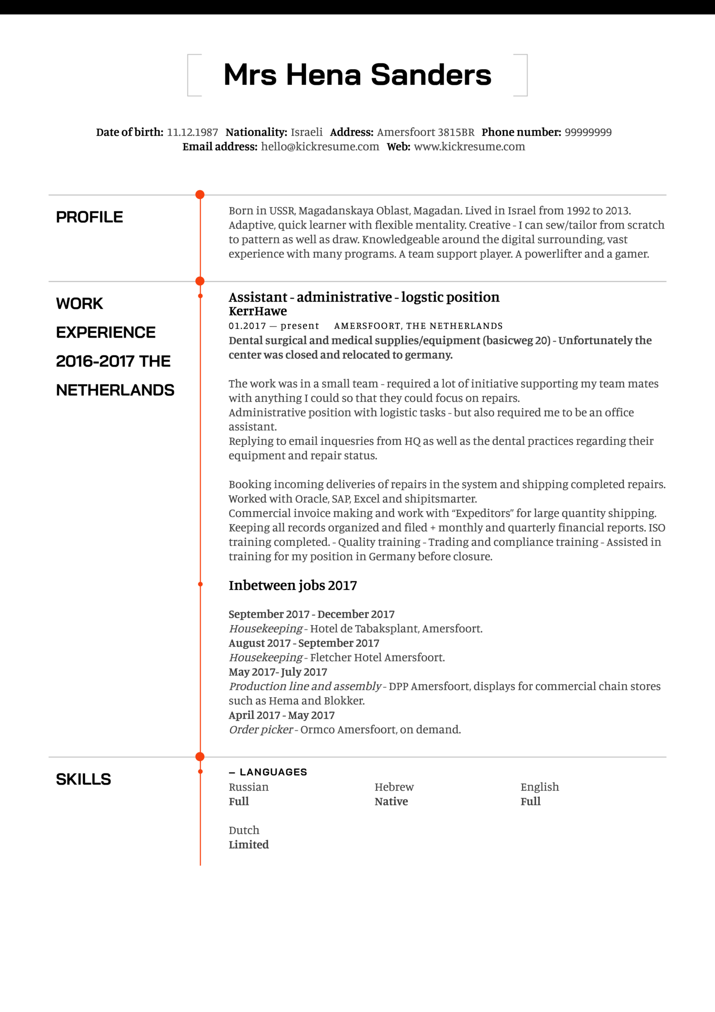 resume examples by real people  logistics assistant cv