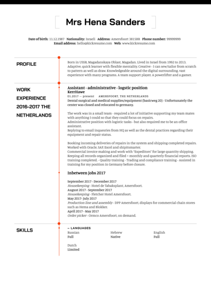Logistics Assistant CV Example