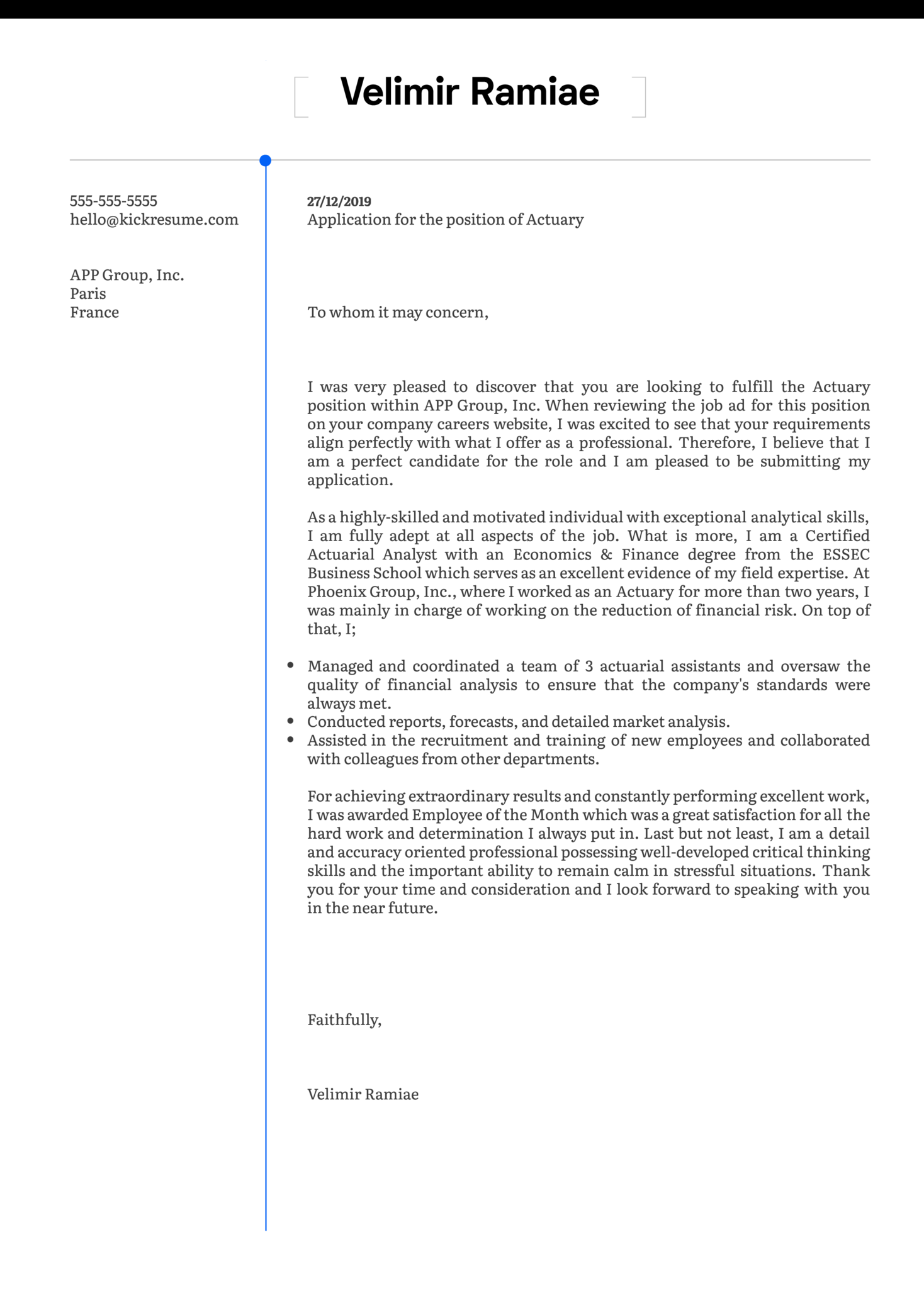 Actuary Cover Letter Template Kickresume