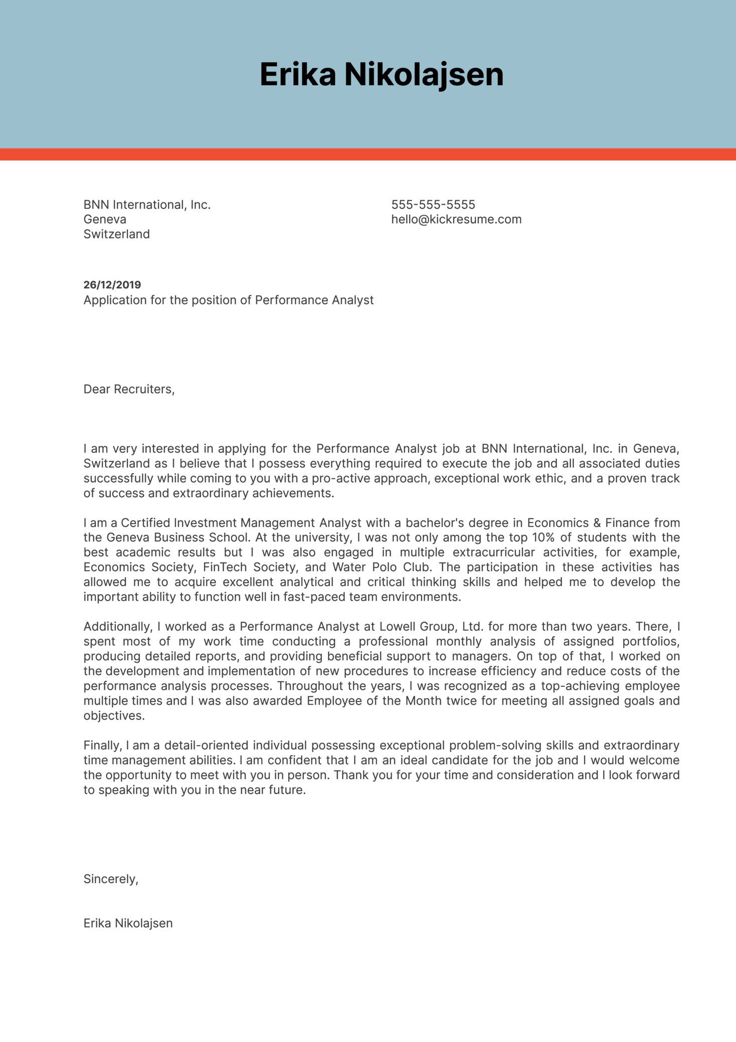 Performance Analyst Cover Letter Sample