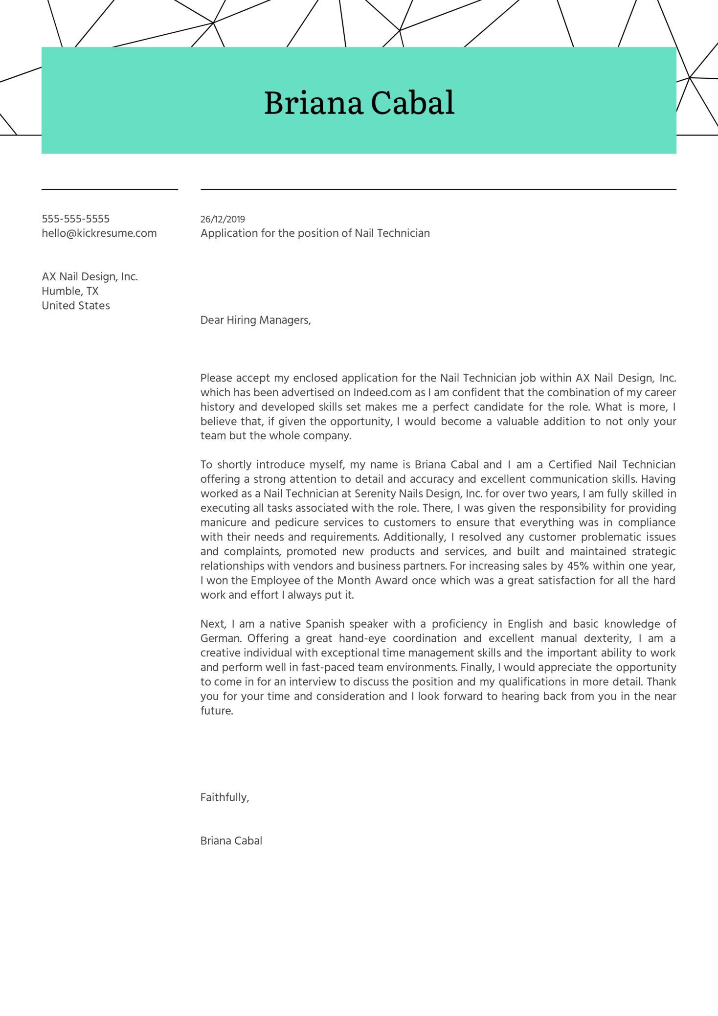 Nail Technician Cover Letter Example