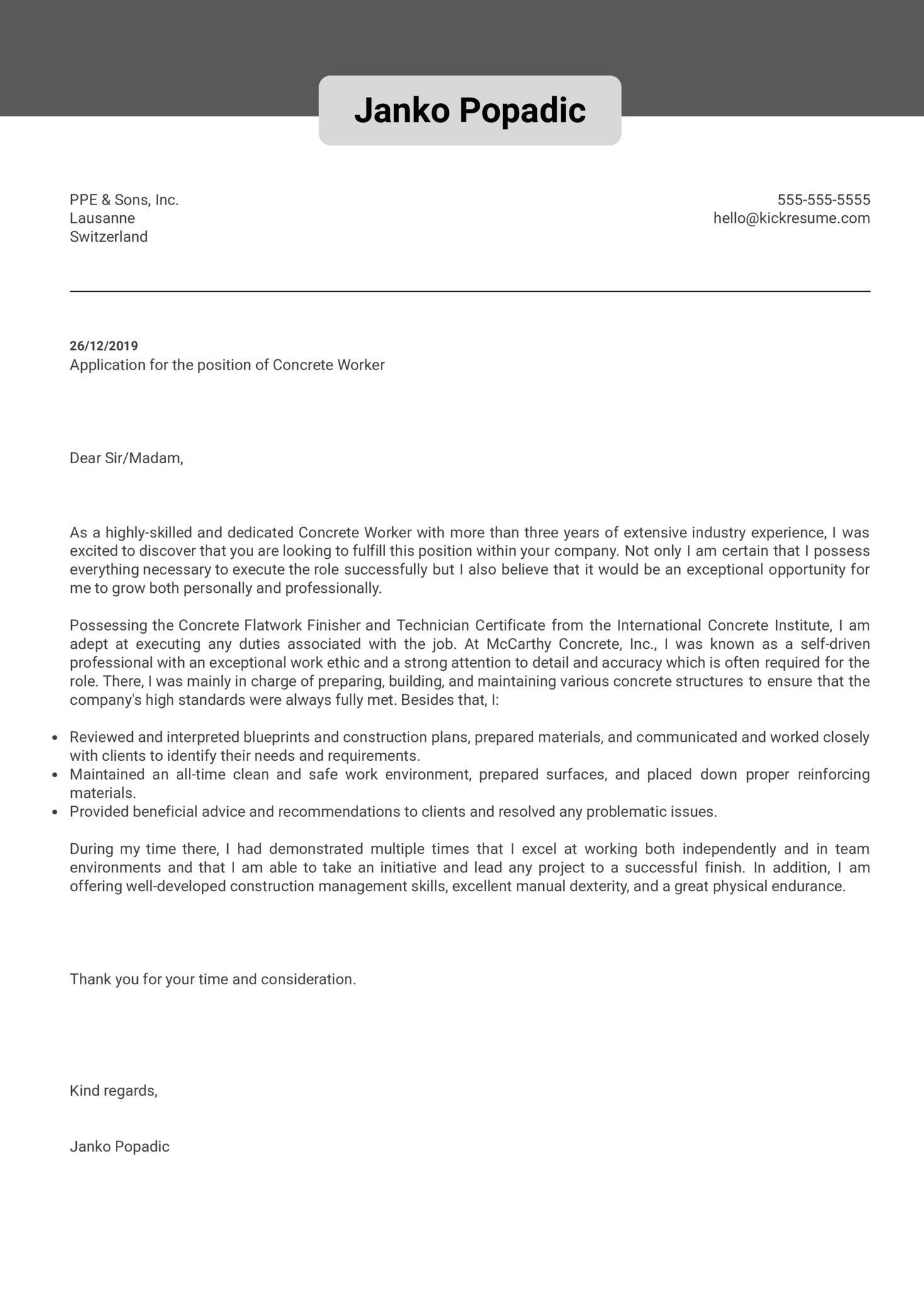 Concrete Worker Cover Letter Sample