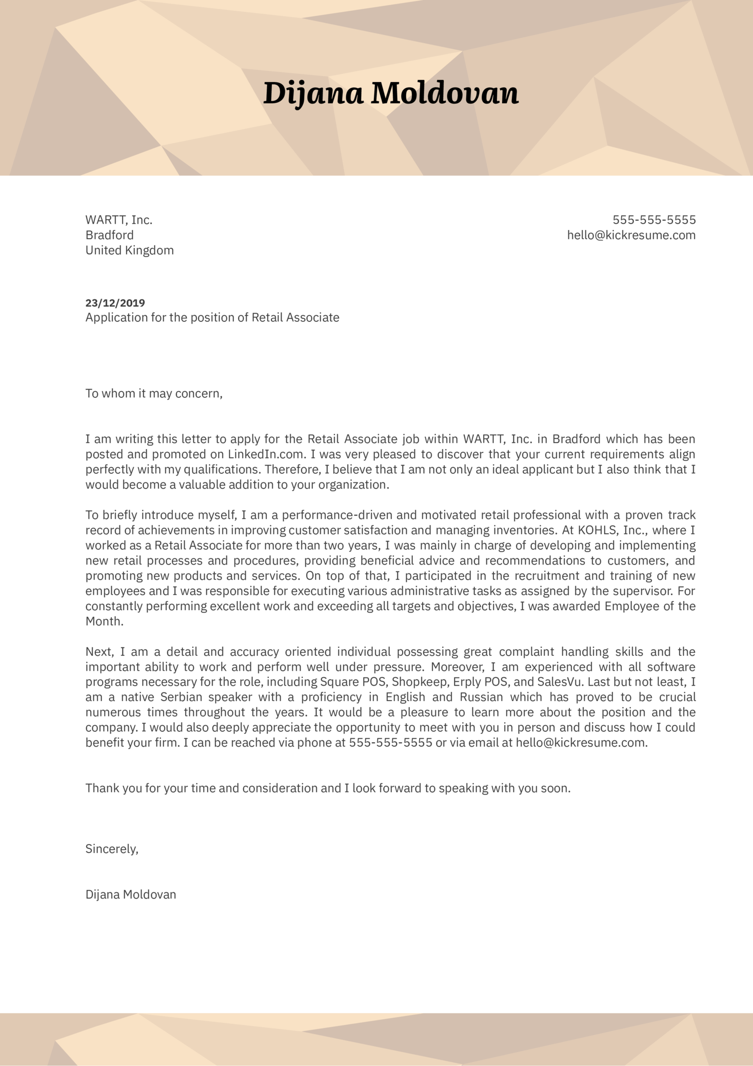 Retail Associate Cover Letter Example