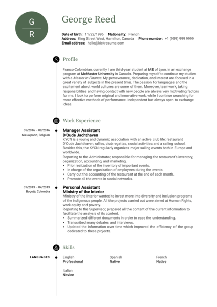 SPG Starwood manager assistant resume template