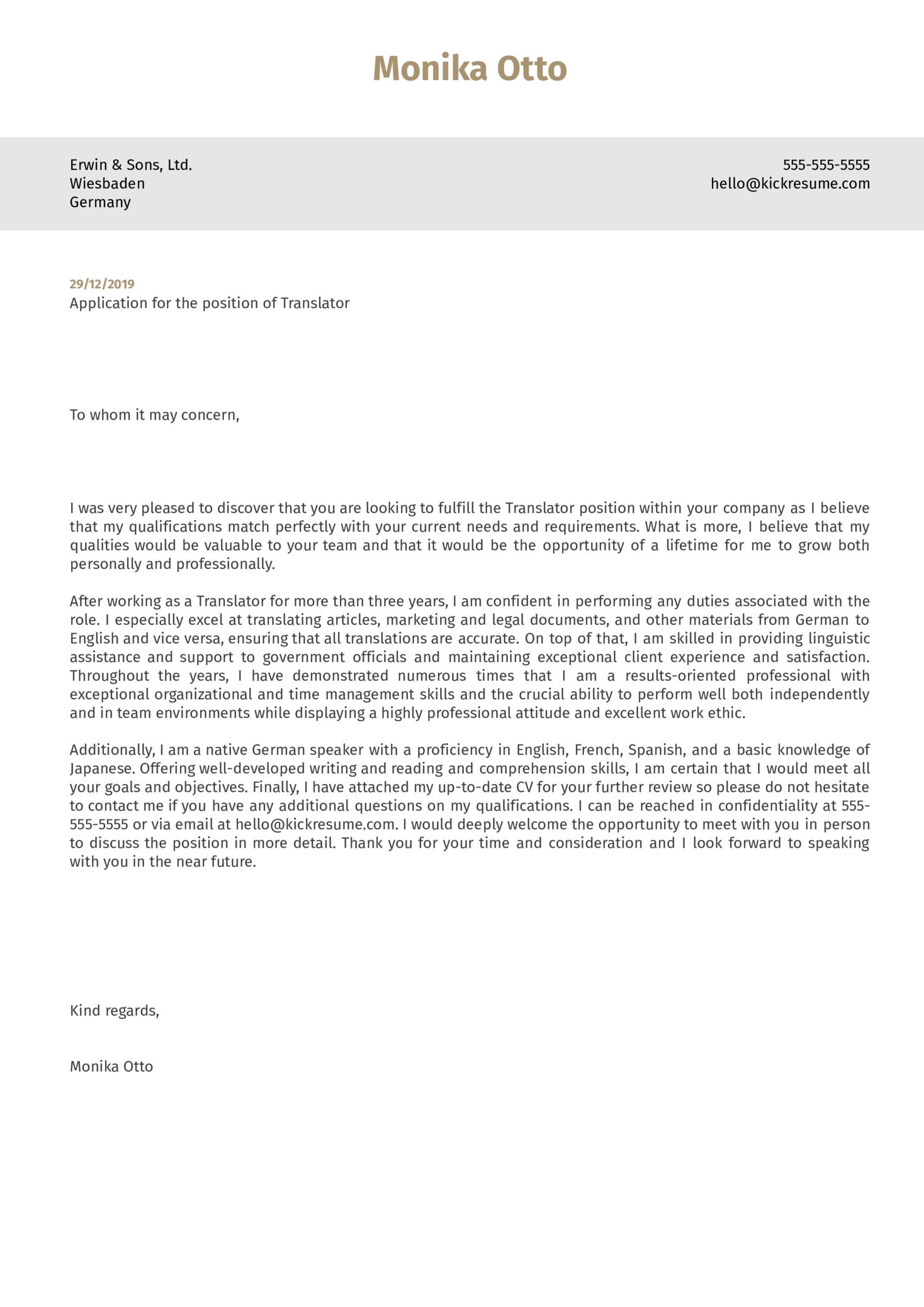 Translator Cover Letter Sample