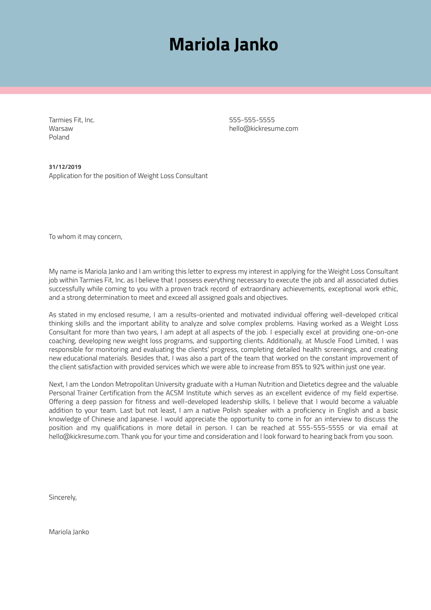 Weight Loss Consultant Cover Letter Example