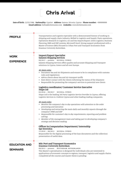 Logistics import export specialist resume template