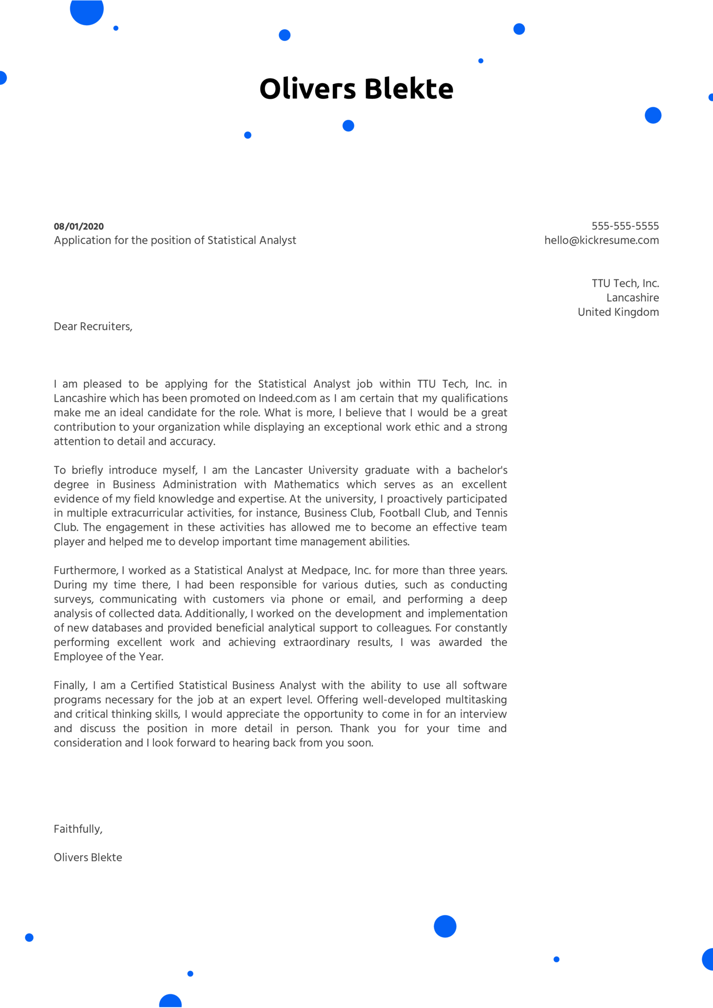 Statistical Analyst Cover Letter Sample